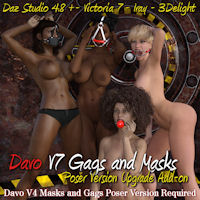 Legacy Davo Victoria 7 Gags And Masks Add-On For Davo's V4 Mask And Gag Set For Daz Studio