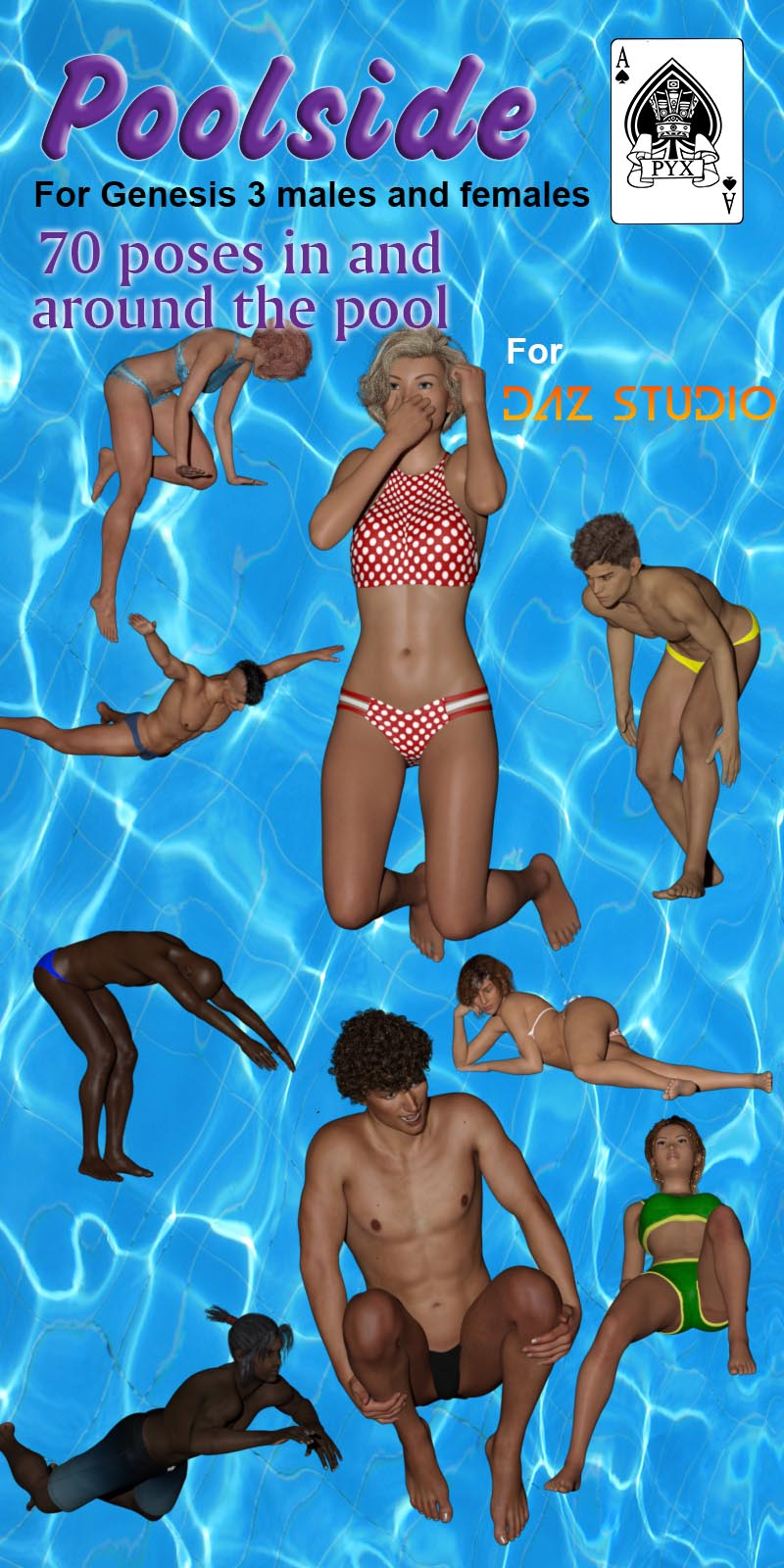 Poolside Poses For Genesis 3 Male And Female