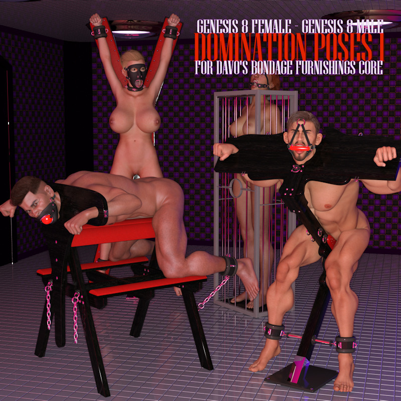 Renderotica Domination Poses I For Davo S Bondage Furniture Core