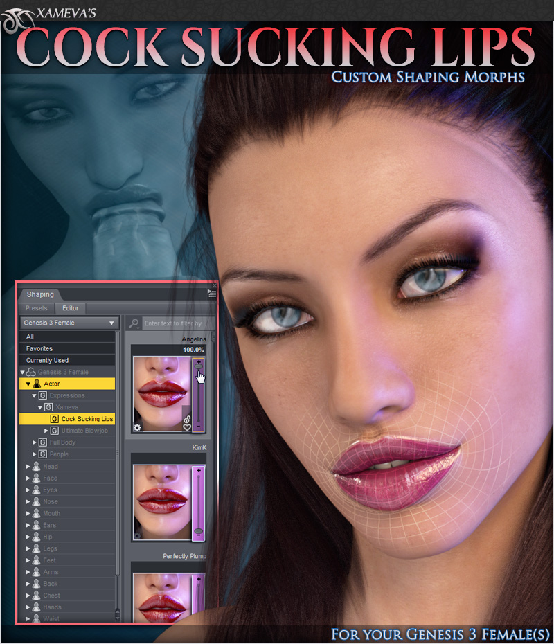 Cock Sucking Lip Morphs For Genesis 3 Female