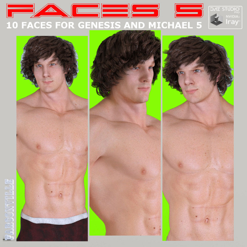 Faces 5 For Genesis Male, Michael 5 And Heroic Michael 5